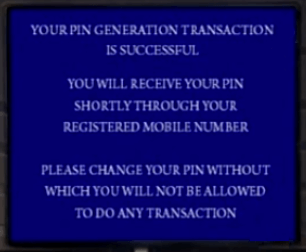 ATM Pin Generation Successful